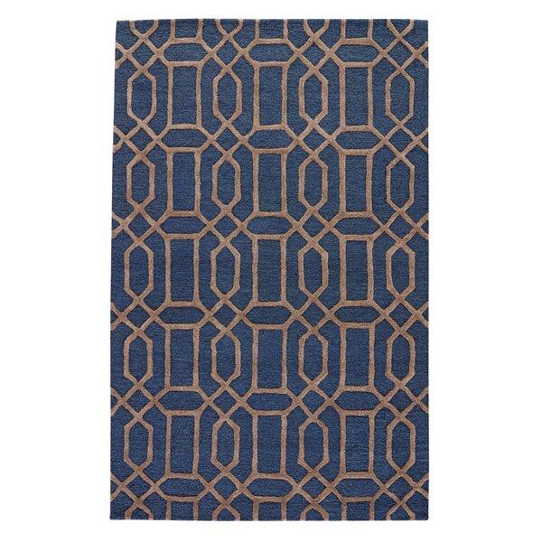 Avery Dark Blue/Taupe Geometric Area Rug by Willa Arlo Interiors