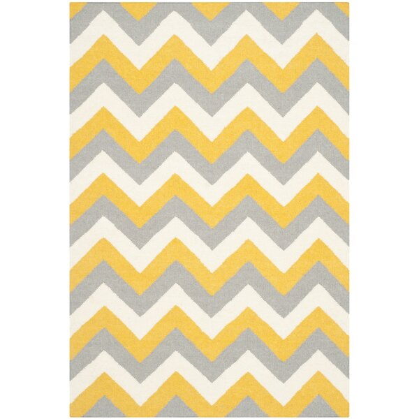 Dhurries Hand-Woven Cotton Chevron Area Rug by Safavieh
