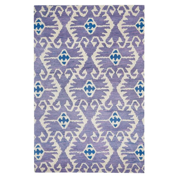 Kouerga Hand-Tufted Wool Lavender/Ivory Area Rug by Bungalow Rose