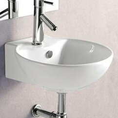 Porcelain Ceramic 17 Wall Mount Bathroom Sink with Overflow by Elanti
