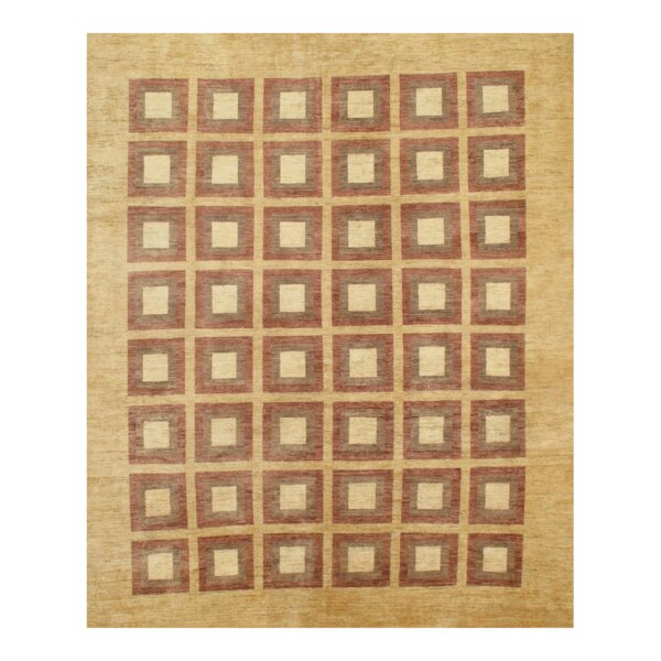 Stoker Modern Hand-Knotted Wool Beige Area Rug
