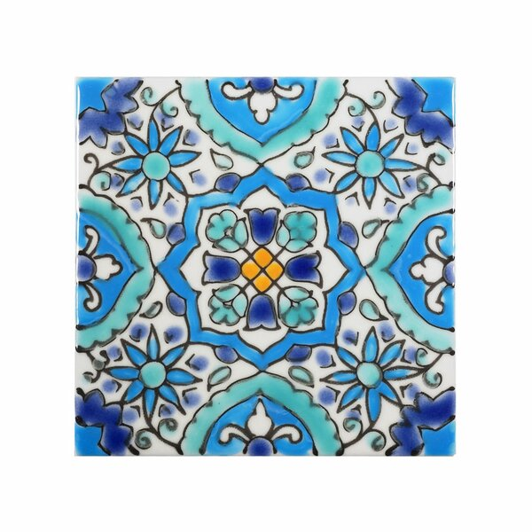 Mediterranean 4 x 4 Ceramic Utica Decorative Tile in Blue by Casablanca Market