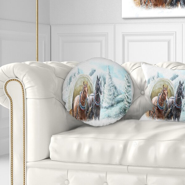 Landscape Printed Painted Scene with Horses in Winter Throw Pillow by East Urban Home