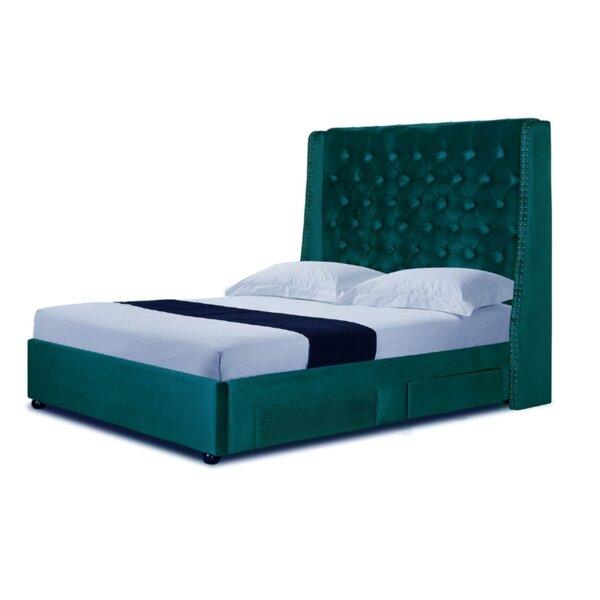 Fortney Velvet Queen Upholstered Storage Sleigh Bed by Everly Quinn