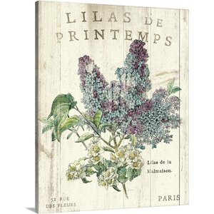 'Lilas de Printemps' by Sue Schlabach Graphic Art on Wrapped Canvas by Great Big Canvas