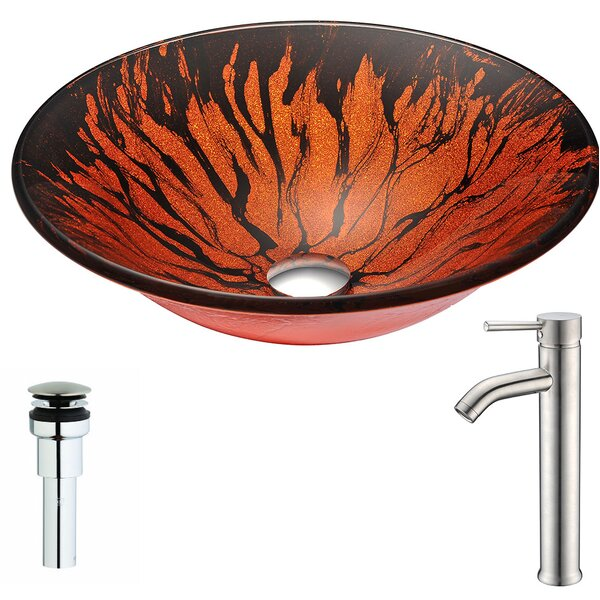 Forte Tempered Glass Circular Vessel Bathroom Sink with Faucet