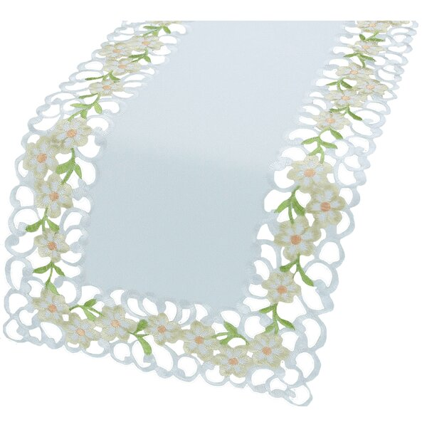 Spring Garden Embroidered Cutwork Mini Table Runner by Xia Home Fashions