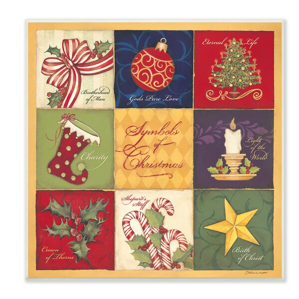 9 Patch Symbols of Christmas Graphic Art Print by Stupell Industries