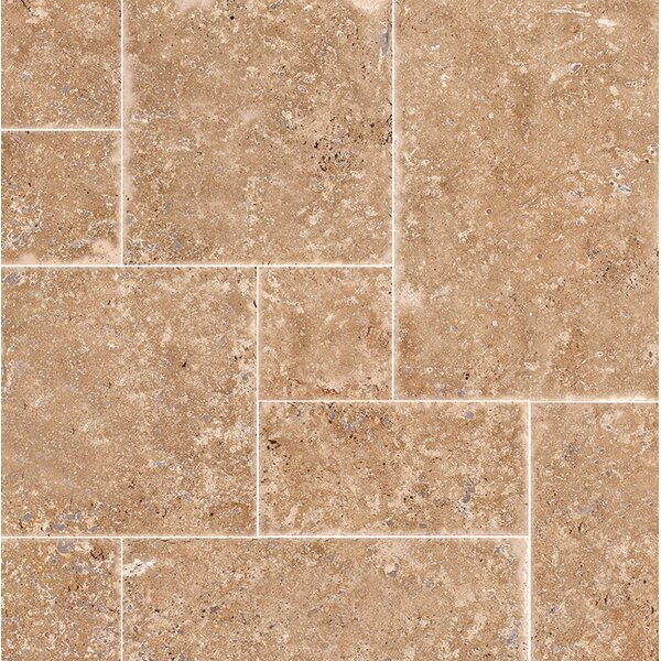 Random Sized Travertine Mosaic Tile in Light Walnut Chiseled Brushed by Parvatile