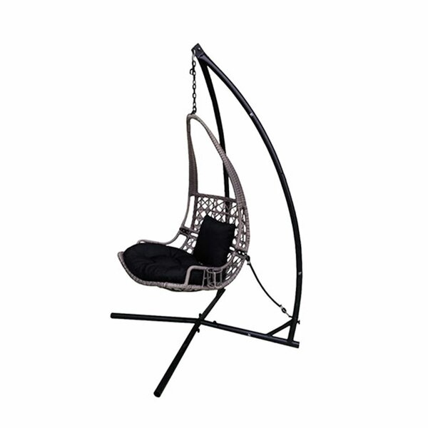 Newlon Wicker Rattan Hanging Swing Chair with Stand by Bloomsbury Market Bloomsbury Market