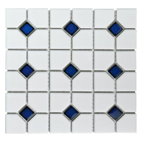 Cambridge Random Sized Porcelain Mosaic Tile in Matte White/Cobalt Dot by EliteTile