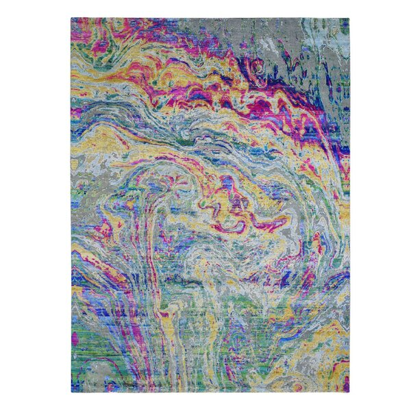 One-of-a-Kind Hand-Knotted New Age Yellow/Green/Purple 8'9 x 11'9 Area Rug