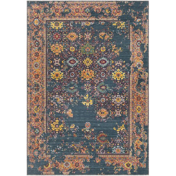 Rand Overdyed Vintage Navy/Peach Area Rug by Bungalow Rose