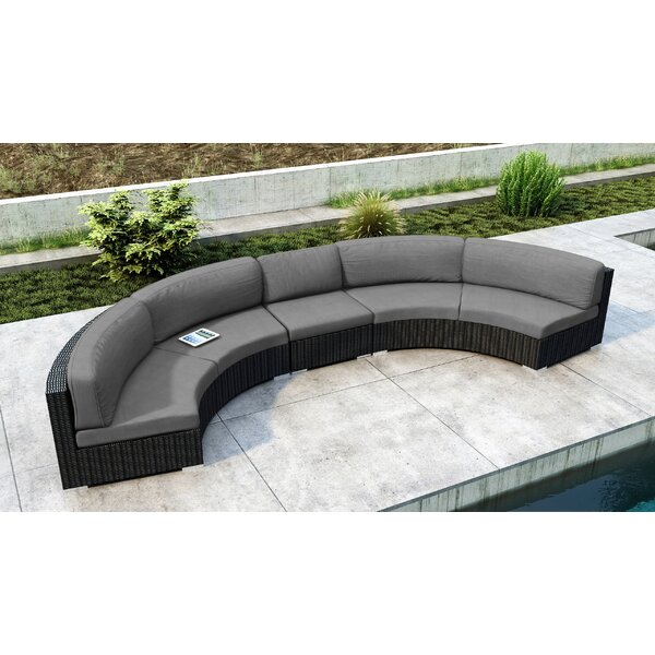 Glendale 3 Piece Rattan Sectional Seating Group with Cushions by Everly Quinn