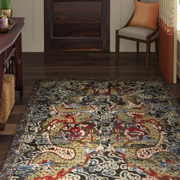 Chosposi Black Midnight Area Rug by World Menagerie