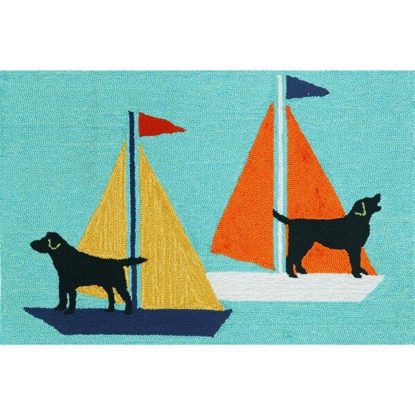 Walton Sailing Dog Hand-Tufted Blue Indoor/Outdoor Area Rug by Breakwater Bay