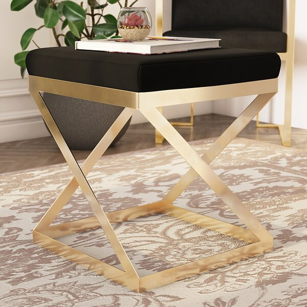 Jarin Velvet Vanity Stool by Everly Quinn