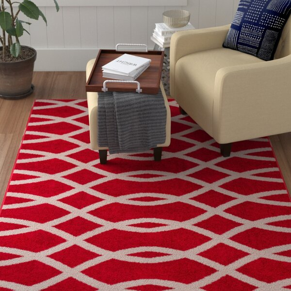 Manning Poofy Red Area Rug by Winston Porter
