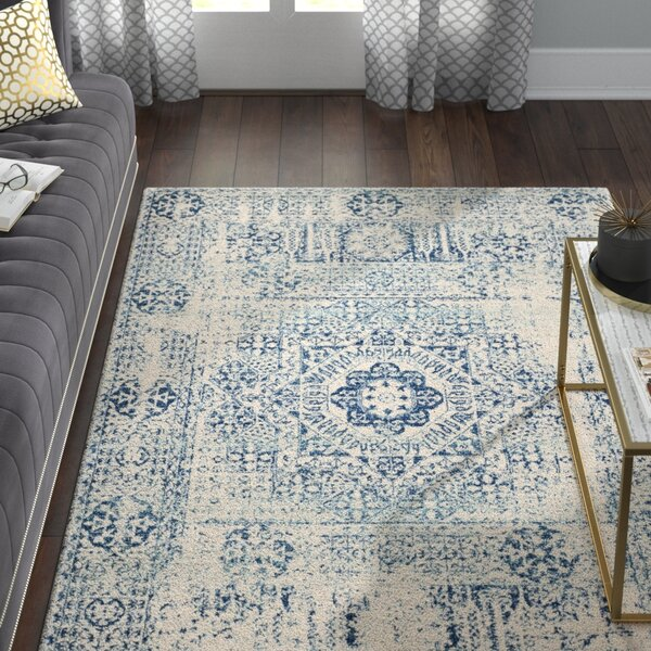 Huma Ivory/Blue Area Rug by Willa Arlo Interiors