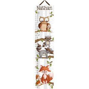 Forest Critters Woodland Kids Personalized Canvas Growth Chart by Toad and Lily
