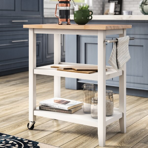 Raabe Kitchen Cart With Wood Top By Andover Mills.