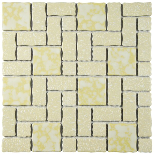Pallas 11.75 W x 11.75 L Porcelain Tile in Gold/White by EliteTile