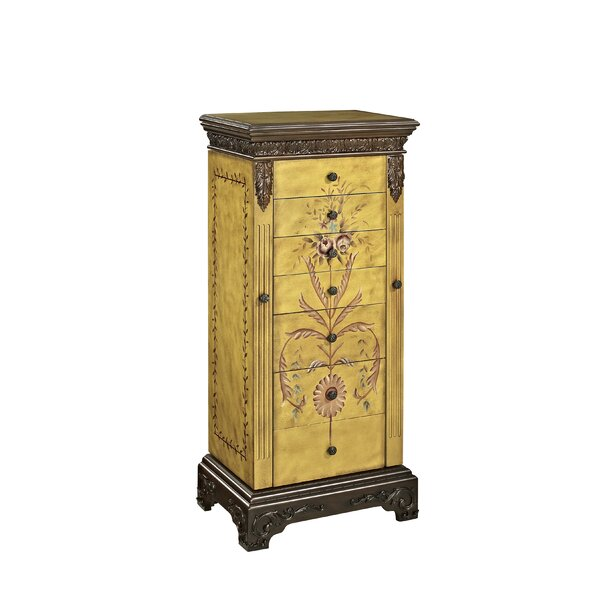Belfast Antique Parchment Hand Painted Jewelry Armoire by Astoria Grand