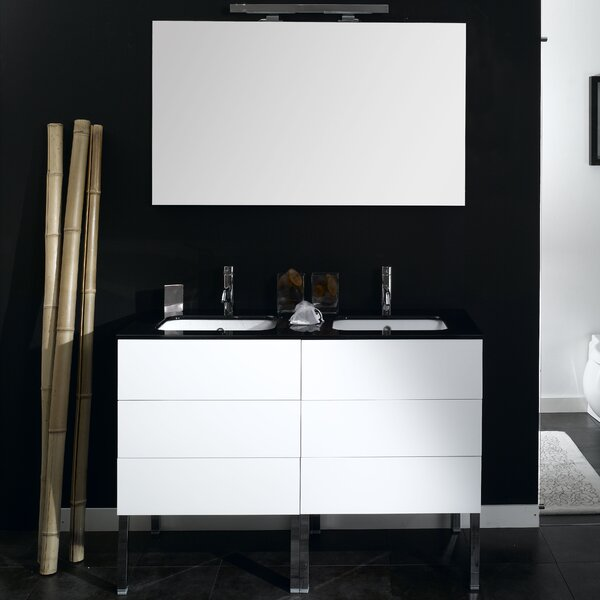 Time 47 Double Wall Mounted Bathroom Vanity Set with Mirror by Iotti by Nameeks