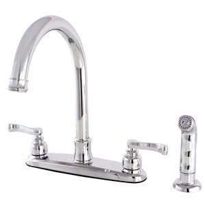 Kingston Brass Royale Centerset Double Handle Kitchen Faucet with Side Spray