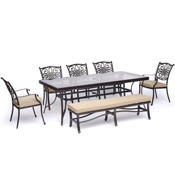 Lauritsen 7 Piece Dining Set with Cushions by Three Posts