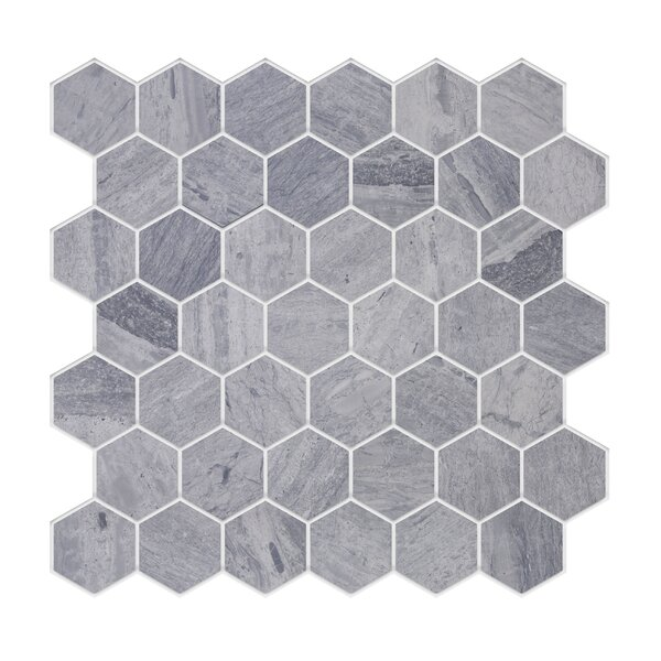 Modern Hexagonal Deep Marble Tile in Gray by Byzantin Mosaic