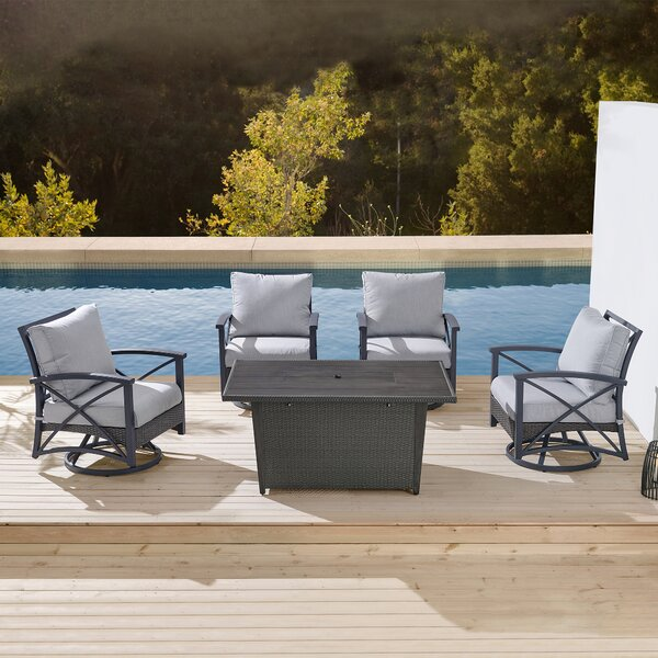 Lakeside Patio 5 Piece Multiple Chairs Seating Group with Cushions by Martha Stewart