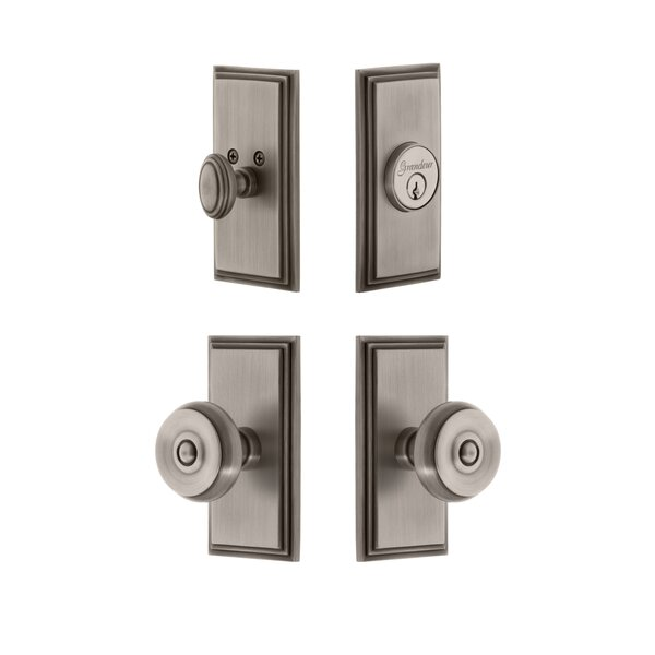 Carre Single Cylinder Knob Combo Pack with Bouton Knob by Grandeur