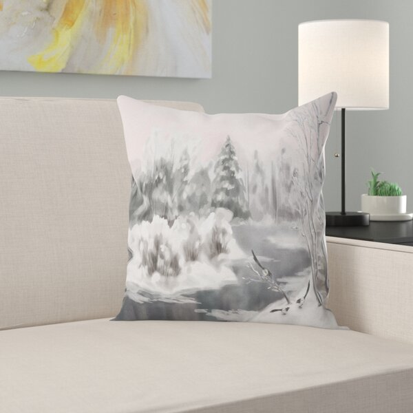 Landscape Watercolor Winter Vector Pillow by East Urban Home