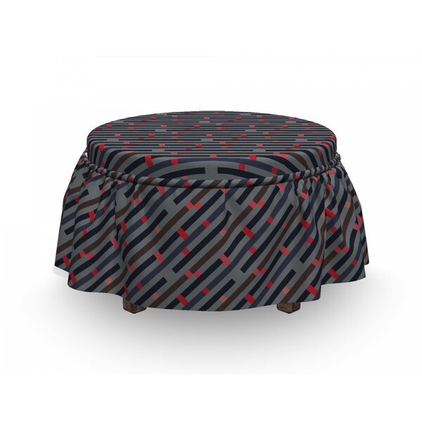 Best Price Stripy And Hipster Ottoman Slipcover (Set Of 2)