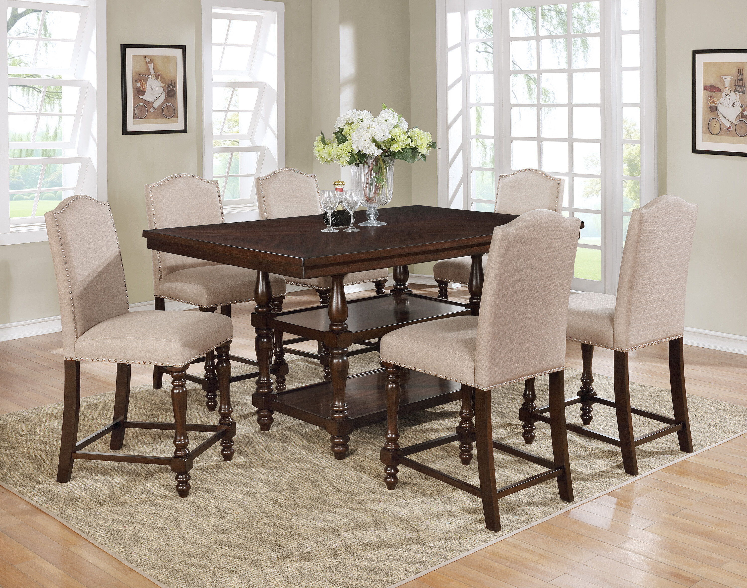 Heady Counter Height Trestle Dining Table