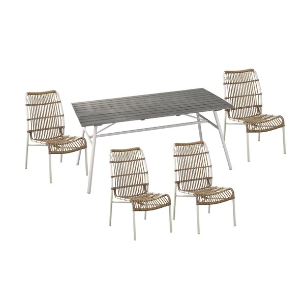 Longino Outdoor 5 Piece Dining Set with Cushions (Set of 5)