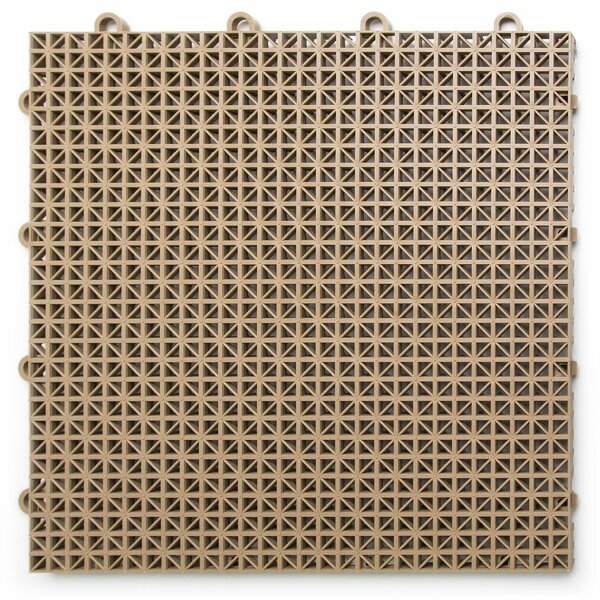 12 x 12 Plastic Interlocking Deck Tile in Beige by