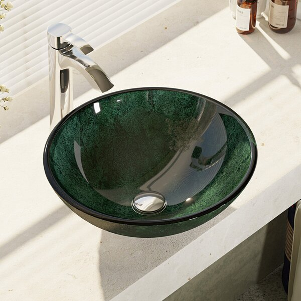 Woodland Glass Circular Vessel Bathroom Sink with Faucet