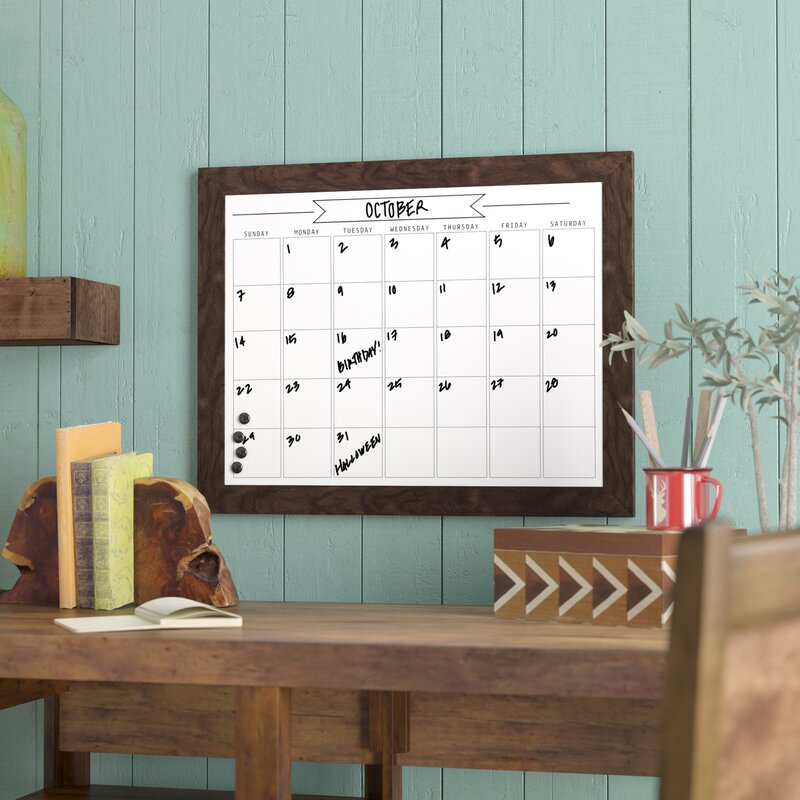 Union Rustic Framed Monthly Write On Calendar Magnetic Wall Mounted ...