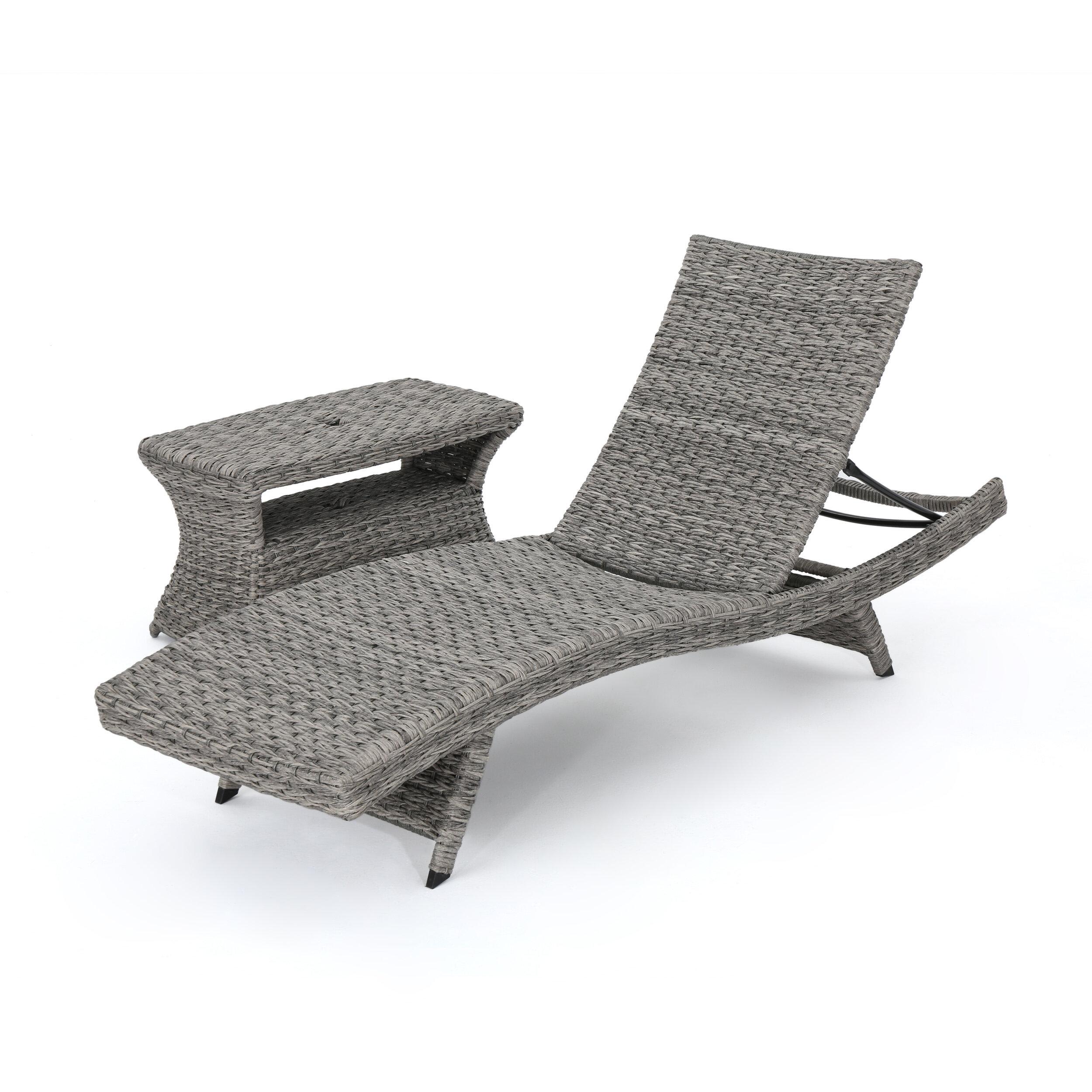 - Latitude Run Lebel Reclining Chaise Lounge With Table Wayfair
