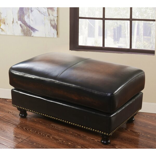 Barwood Leather Ottoman by Darby Home Co