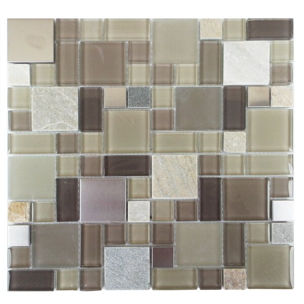Parker Random Sized Glass/Stone/Metal Mosaic Tile in Tan and Brown by Mulia Tile