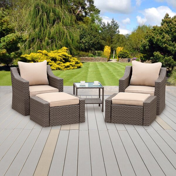 Valleyview 5 Piece Rattan Seating Group with Cushions by Ebern Designs Ebern Designs