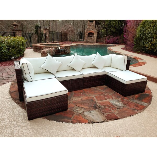 Azhari Hampton 6 Piece Rattan Sectional Seating Group With Cushions By Latitude Run
