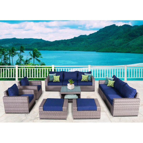Burkley 11 Piece Sectional Seating Group with Cushions by Longshore Tides