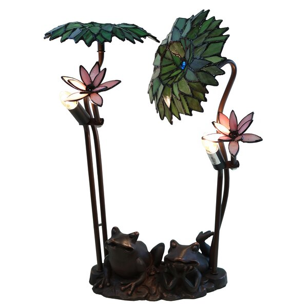 Roa Green Palms and Frog 19 Table Lamp by Warehouse of Tiffany