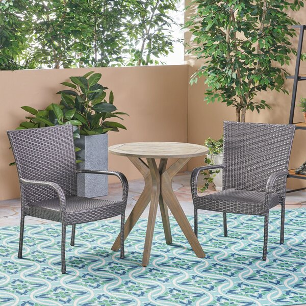 Julius Outdoor 3 Piece Bistro Set by Bungalow Rose