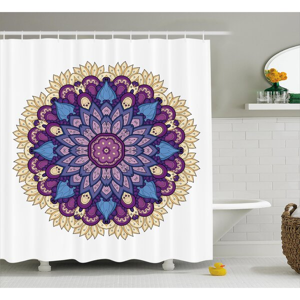Jennifer Mandala Flower Shaped Universe Chart With Color Contour Occult Esoteric Folk Image Shower Curtain by Ebern Designs