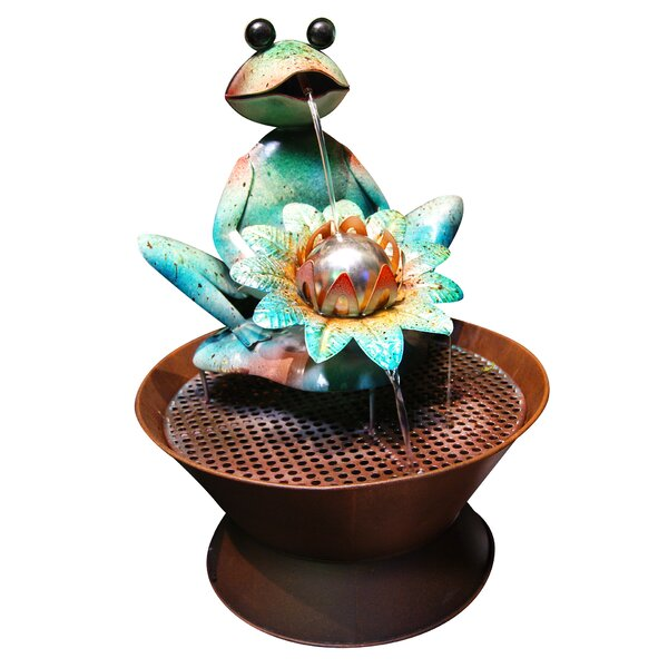 Metal Frog Sculptural Fountain by Woodland Imports